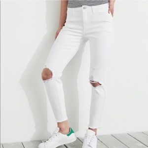 Hollister White High Rise Crop Super Skinny Jeans